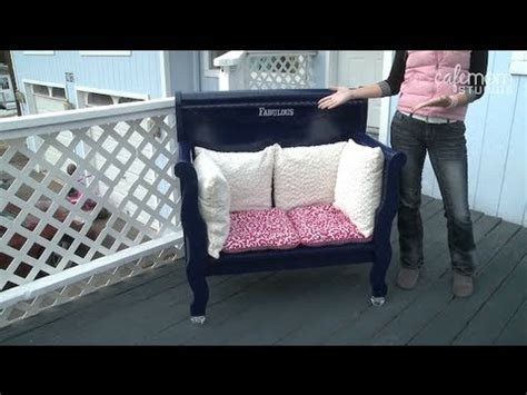 how do you make a door into a swinging bookcase build a bench out of an old headboard make it fabulous
