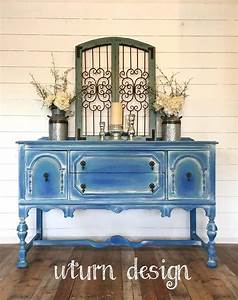 Sold, Coastal, Blue, Painted, Buffet, Beach, Cottage, Sideboard