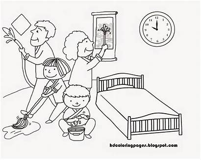 Mewarnai Cleaning Coloring Bersih Keluarga Gambar Kebersihan