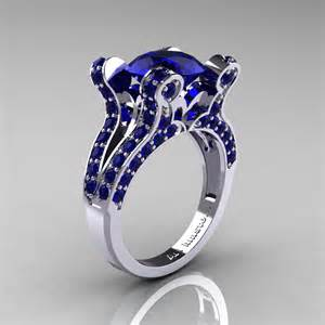 blue sapphire engagement rings white gold vintage 14k white gold 3 0 ct blue sapphire pisces wedding ring engagement ring y228 14kwgbs