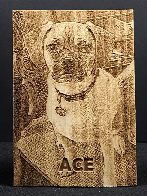 laser engraved photo   pet   small wood plaque