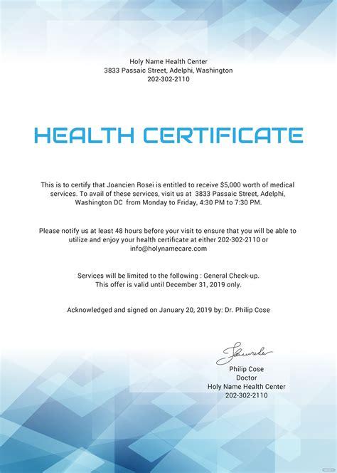health certificate template  microsoft word