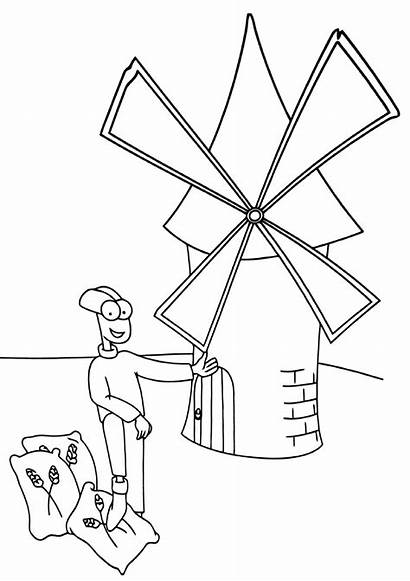 Mill Coloring Pages Building