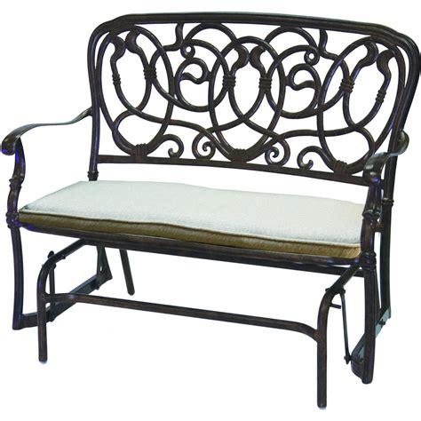 darlee florence cast aluminum patio bench glider antique