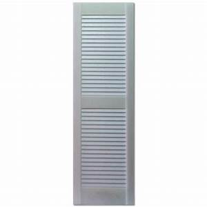 Shop custom shutters llc 2 pack paintable louvered vinyl for Paintable exterior vinyl shutters