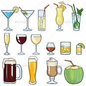 Set of Cartoon Cocktails and Alcohol Drinks by nikiteev ...