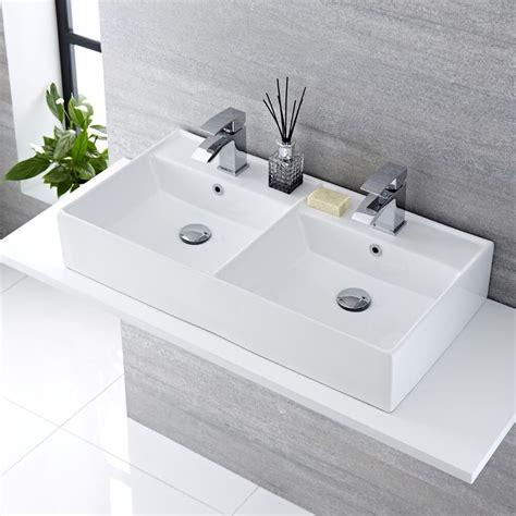 Lavabi D Appoggio In Ceramica Per Il Bagno Lavabo Bagno Da Appoggio Rettangolare Doppio In Ceramica