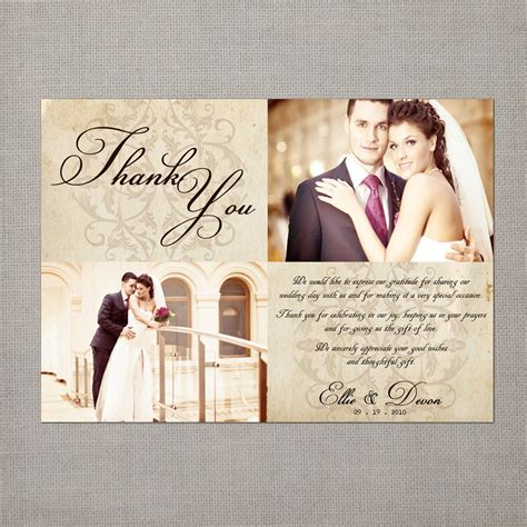 thank you wedding notes vintage wedding thank you cards 5x7 wedding thank you cards