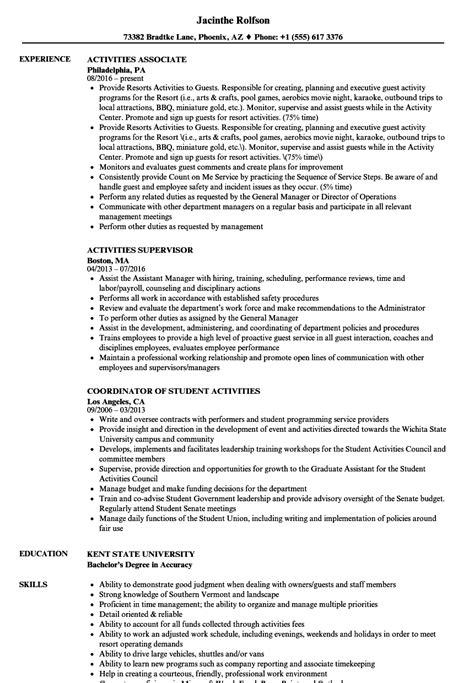 Activities Resume Samples  Velvet Jobs