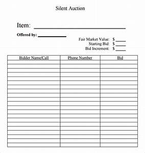6 silent auction bid sheet templates formats examples for Bid sheets for silent auction template