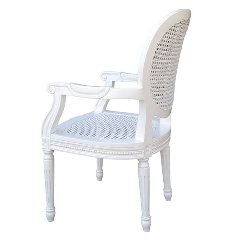 chateau white rattan dining bedroom arm chair