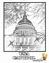 Coloring Pages Building Capitol July 4th Fireworks Printable Sheet Usa Georgia Tall Yescoloring Template America Boys sketch template