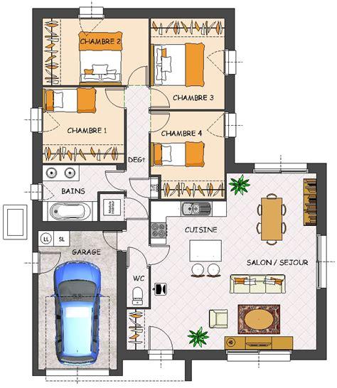 plan maison 3 chambres plain pied garage plan maison 4 chambres plain pied 160 m2 marseille 2218