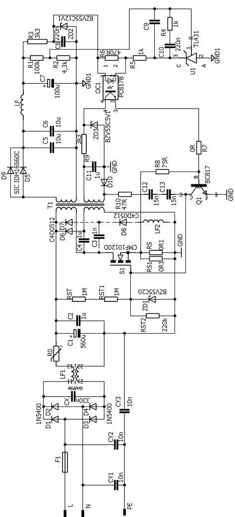 Self Oscillating Smps Circuit Flyback Khz