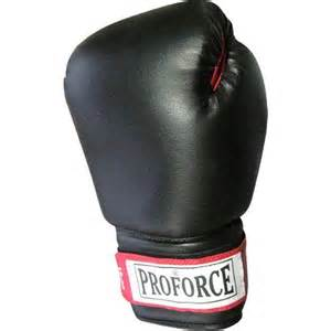 Gungfu ProForce Leatherette Boxing Gloves - Black with Red Palm / 12 oz