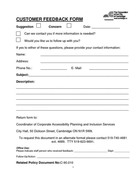 feedback form template customer feedback form sle for product or service evaluation vatansun