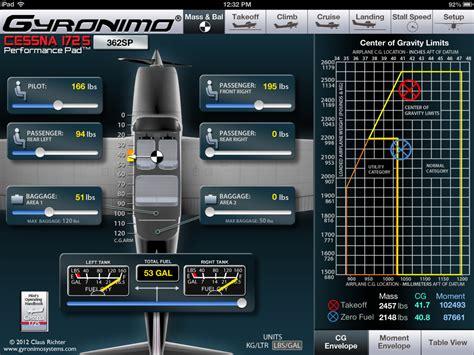 cessna  weight  balance spreadsheet  gyronimo