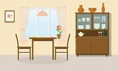 Dining Vector Table Illustration Interior Kitchen Sideboard