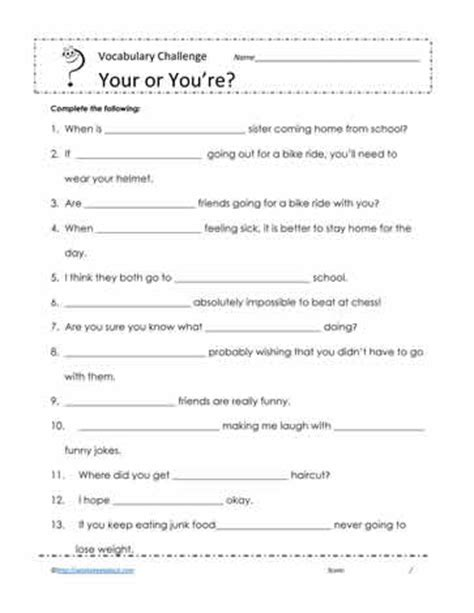 printables your you re worksheet mywcct thousands of