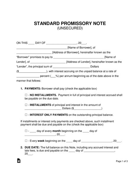 promissory note template free unsecured promissory note template word pdf eforms free fillable forms