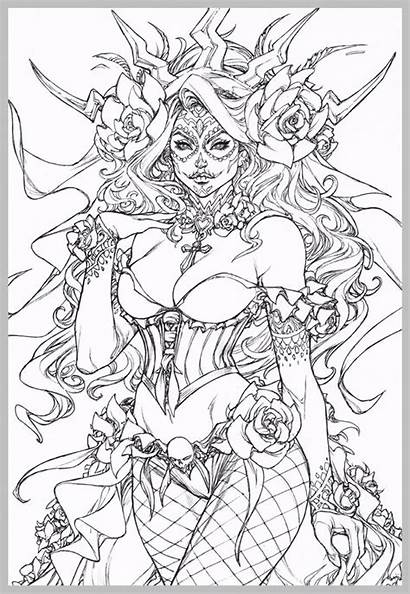 Coloring Pages Gothic Fairy Adult Steampunk Skull