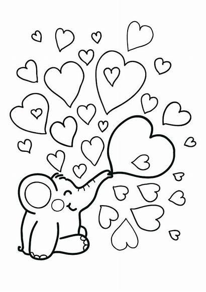 Coloring Heart Valentine Pages Elephant Bubbles