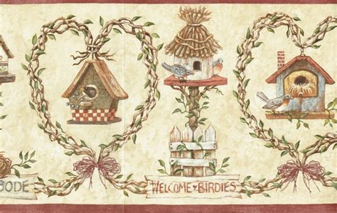 Wallpaper Of Border by Bird Houses On Fences On Vines On Stands Welcome Birdies