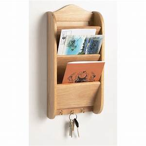 New wooden letter rack key holder wall mount mail for Wall mounted letter organizer