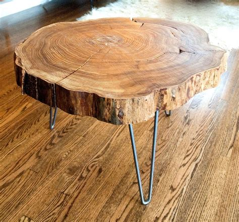 Custom Natural Live Edge Round Slab Side Table / Coffee Table With Steel Legs by Norsk Valley