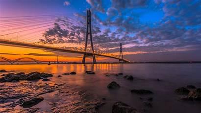 4k Ultra Wallpapers Desktop River Sunset Bridge