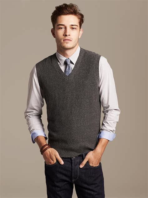 mens sweater vest banana republic textured sweater vest charcoal grey