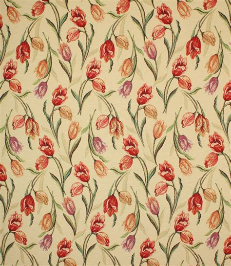 tulip tapestry fabric red  fabrics