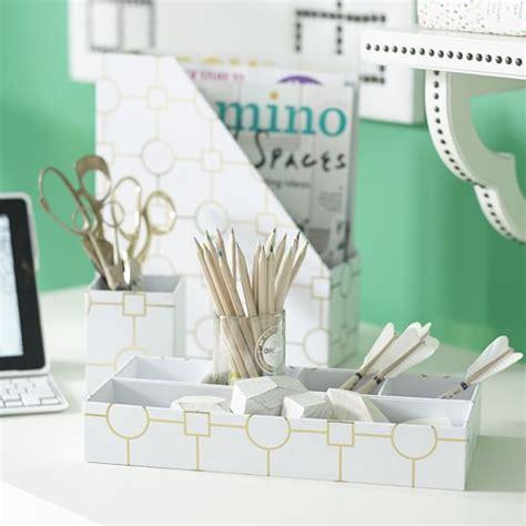 cute desk organizer set printed paper desk accessories set metallic gold geo pbteen