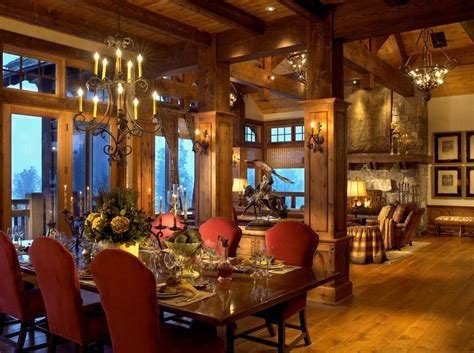 dining room columns rustic with montana wooden standard