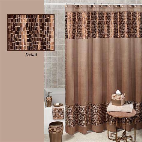 Bronze Mosaic Stone Fabric Shower Curtain
