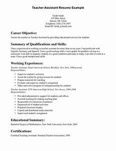 teacher assistant resume objective teacher assistant With career objective for teacher