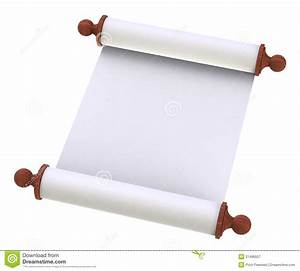 Scroll Paper With Wooden Handles Over White Royalty Free ...