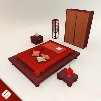 Japanese Bedroom Set by 3d Model Of Japanese Bedroom Set Bed
