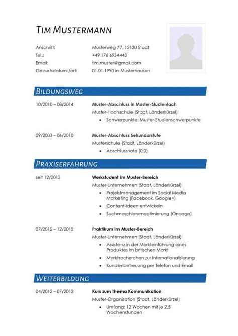 Cv Lebenslauf Vorlage by Moderne Lebenslauf Vorlage In Blau Zum Kostenlosen
