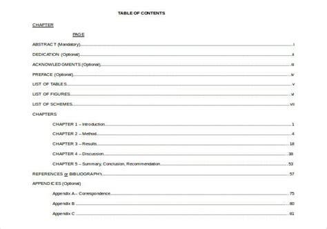 table  contents    premium templates