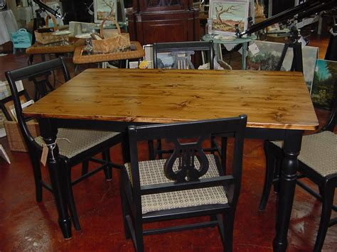 country farm table with four 4 black upholstered harp