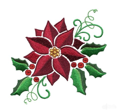 poinsettia design poinsettia and holly embroidery design