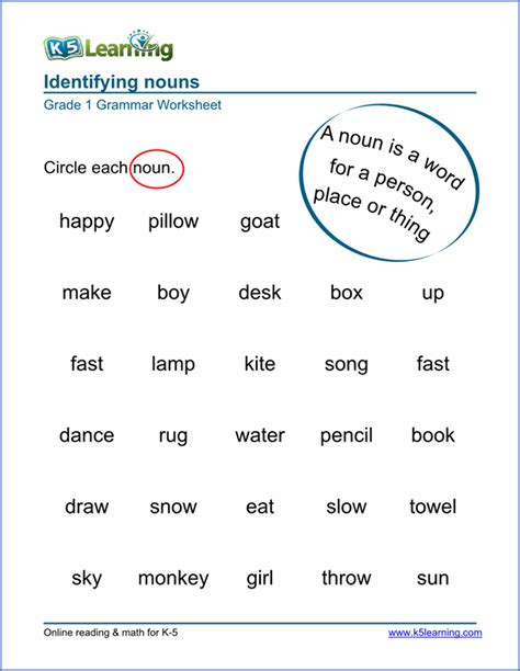 nouns worksheet grade 1 sle first grade nouns worksheet 1st grade worksheets teaching