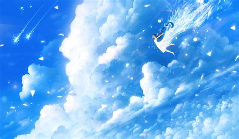 anime girl flying sky clouds light