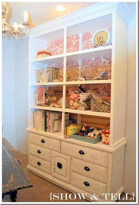 Craft Hutch - whats wednesday craft room ideas painted hutch
