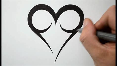 draw  easy tribal heart tattoo design youtube
