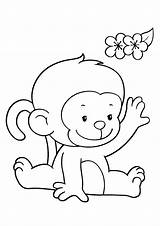 Coloring Pages Monkeys Monkey Funny Printable Children Colouring Sheets Justcolor sketch template