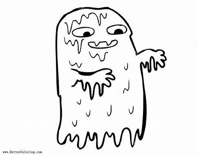 Slime Coloring Pages Ghost Gross Printable Adults