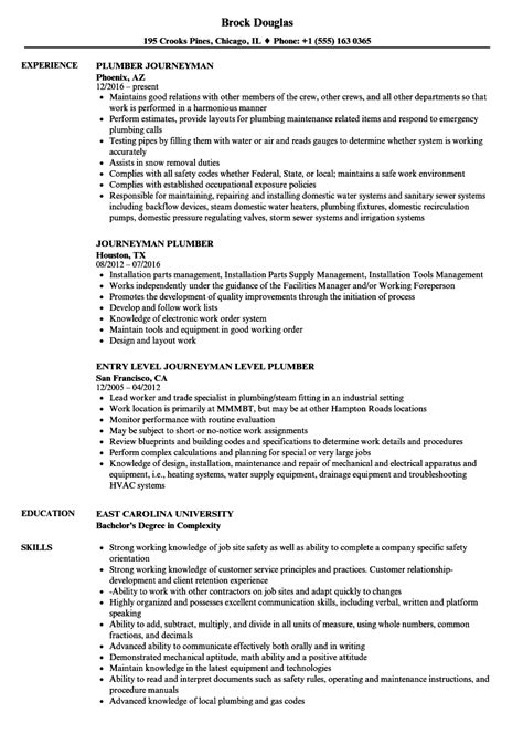 Plumber Resume by Journeyman Plumber Resume Sles Velvet