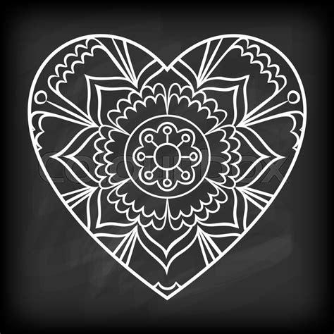 doodle heart mandala  chalkboard outline flower